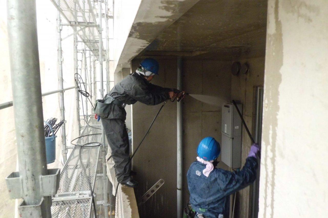 外壁洗浄2 バルコニー内部