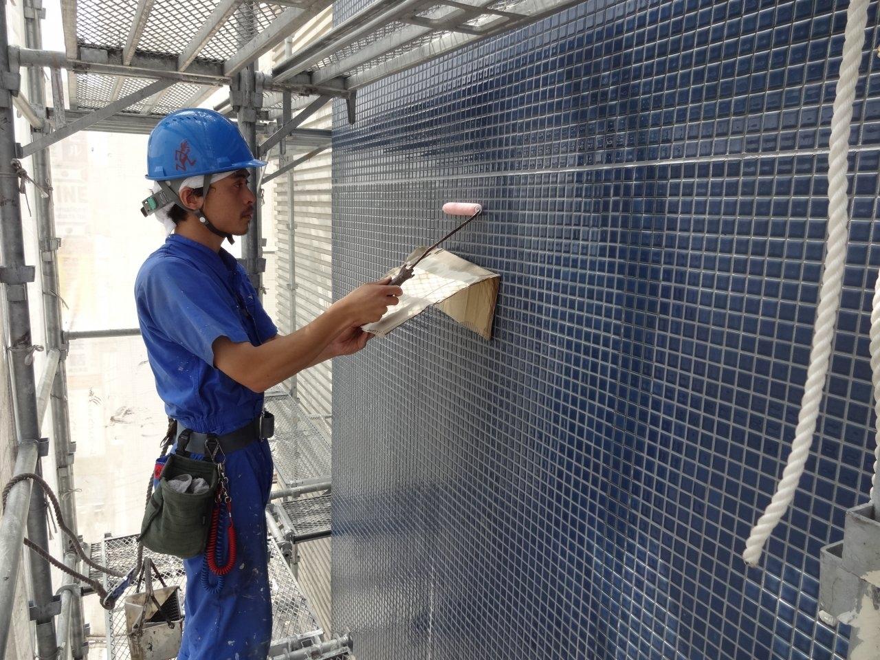 外壁保護撥水剤塗布2 タイル